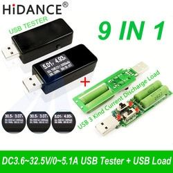 9 in 1 QC2.0 3.0 MTK-PE 3.6~32V Digital USB tester DC voltmeter current voltage meter amp voltammeter amperimetro detector load