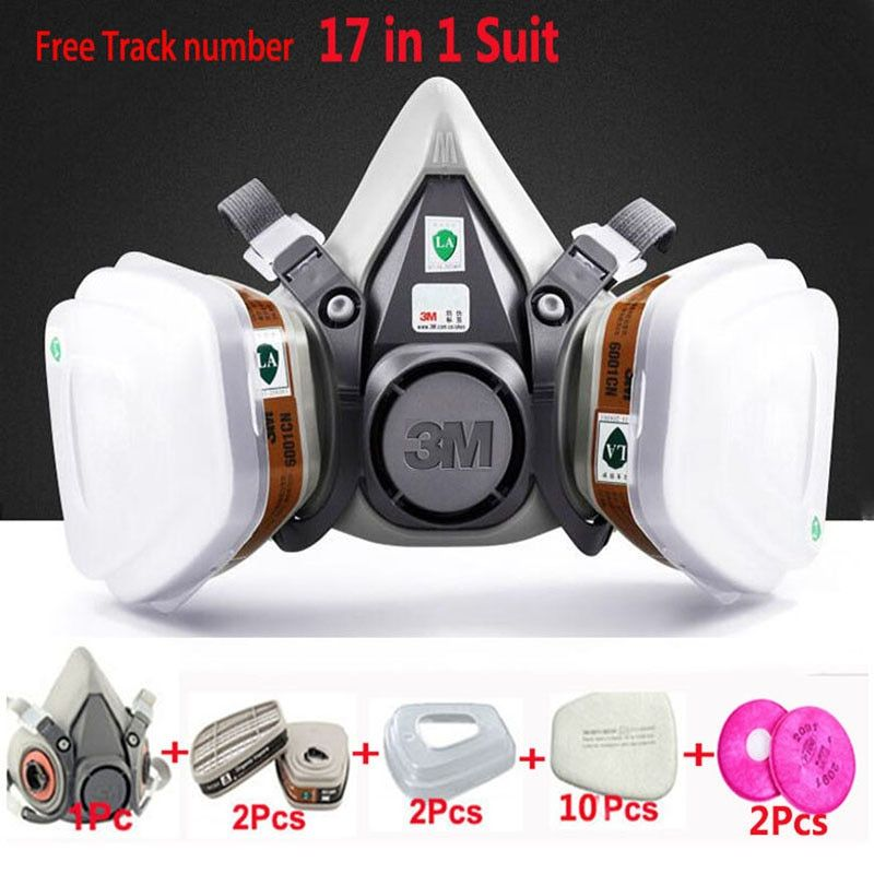 17 in 1 Suit Painting Spraying Gas Mask Same For 3 M 6200 Half Face Gas Mask Respirator
