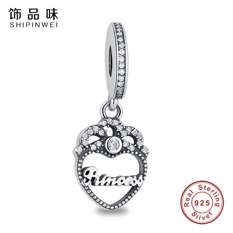 Натуральная 925 пробы серебро Princess Crown сердце мотаться Подвески Fit Pandora оригинальный браслет для Для женщин авторские украшения подарок