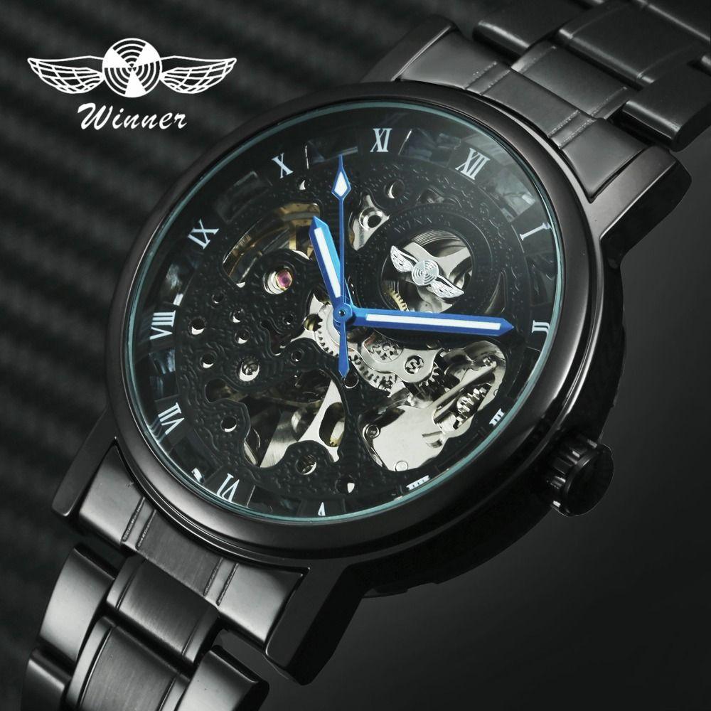 WINNER hommes montres classique noir automatique mécanique montre Cool noir squelette unisexe montre chaude TOP marque de luxe avec boîte-cadeau