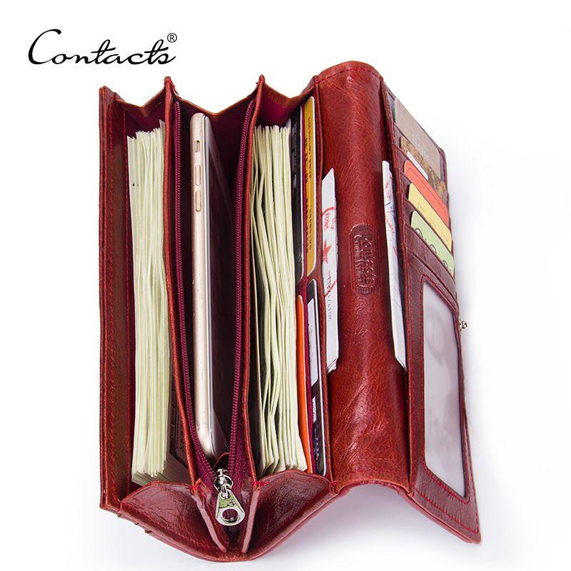 CONTACT'S en cuir véritable femmes portefeuilles dame sac à main Long Alligator portefeuille élégant mode femme pochette pour femmes avec porte-carte