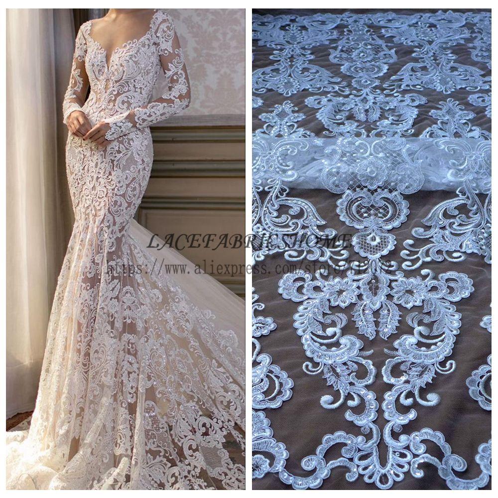 Mode mariage style haute qualité rayonne paillettes cordon brodé mariage/robe de soirée dentelle tissu 1 YARD