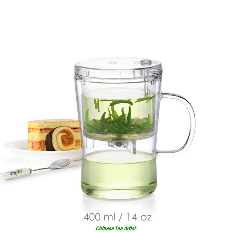 Tasse à thé en Borosilicate transparent avec couvercle et passoire 400 ml, théière créative et pratique
