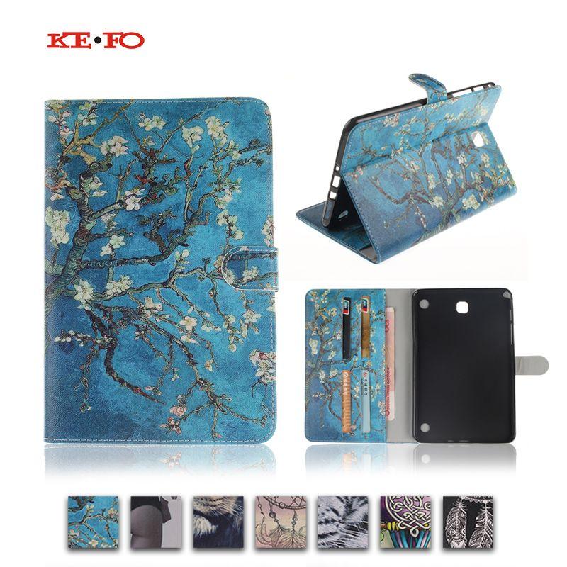 Pour Samsung Galaxy Tab A 8.0 T350 T351 SM-T355 housse de protection 8 pouces tablette fleur peinture PU cuir support sacs de protection Y4D40D