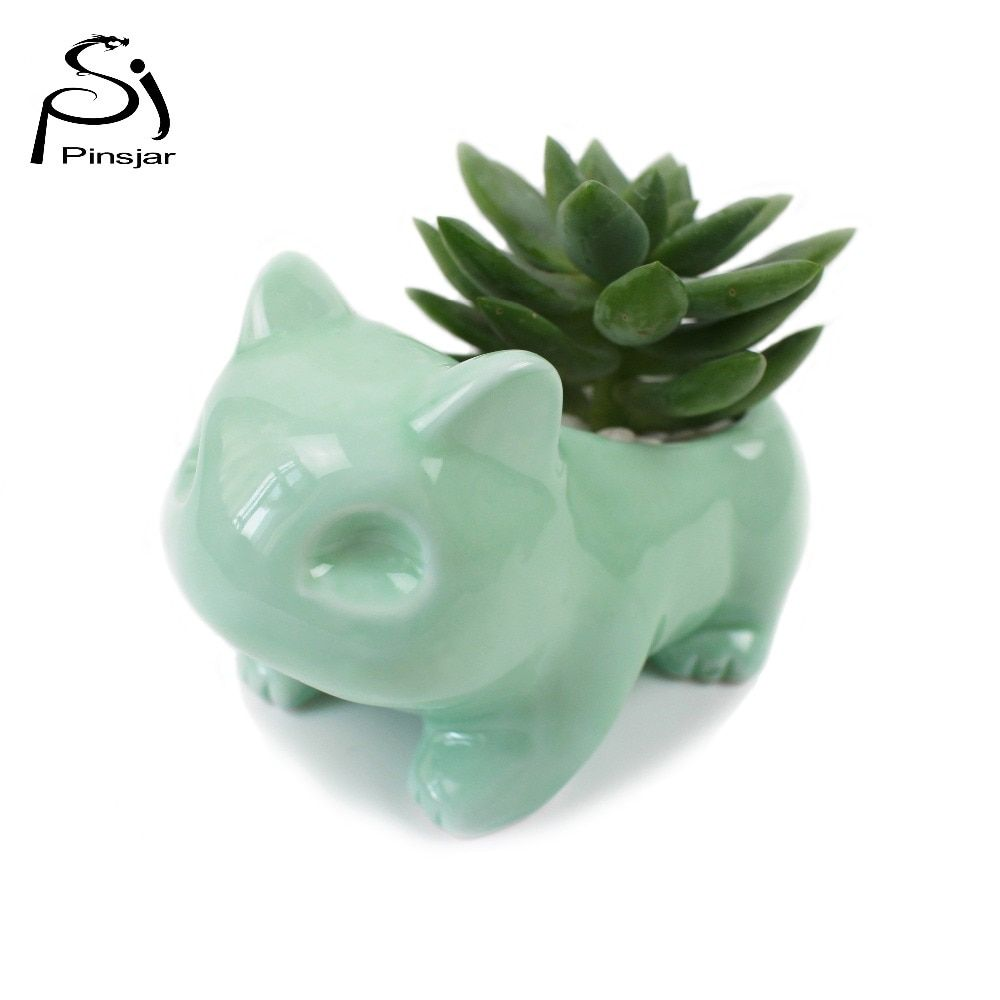 Kawaii Ceramic Flowerpot Bulbasaur Succulent Planter Cute White / Green <font><b>Plants</b></font> Flower Pot with Hole Cute Dropshipping