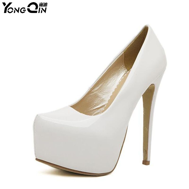 Fashion Pumps For Women High Heel Pumps 15cm Round Toe High Heels Platform Pumps Black Shoes Woman