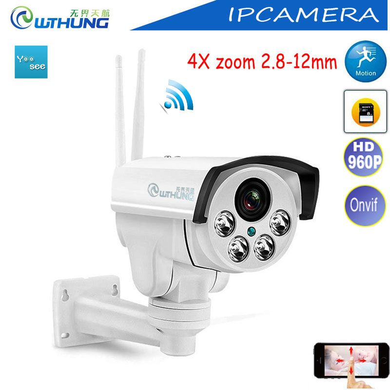 Yoose Wireless PTZ IP Camera Wifi 4X Auto focus 2.8-12mm HD 960P 1.3MP Support Onvif SD Card Motion Detector For CCTV Security