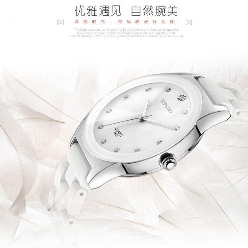 Montre de luxe en céramique blanche résistant à l'eau classique facile à lire sport femmes, livraison gratuite Top qualité dame strass montre