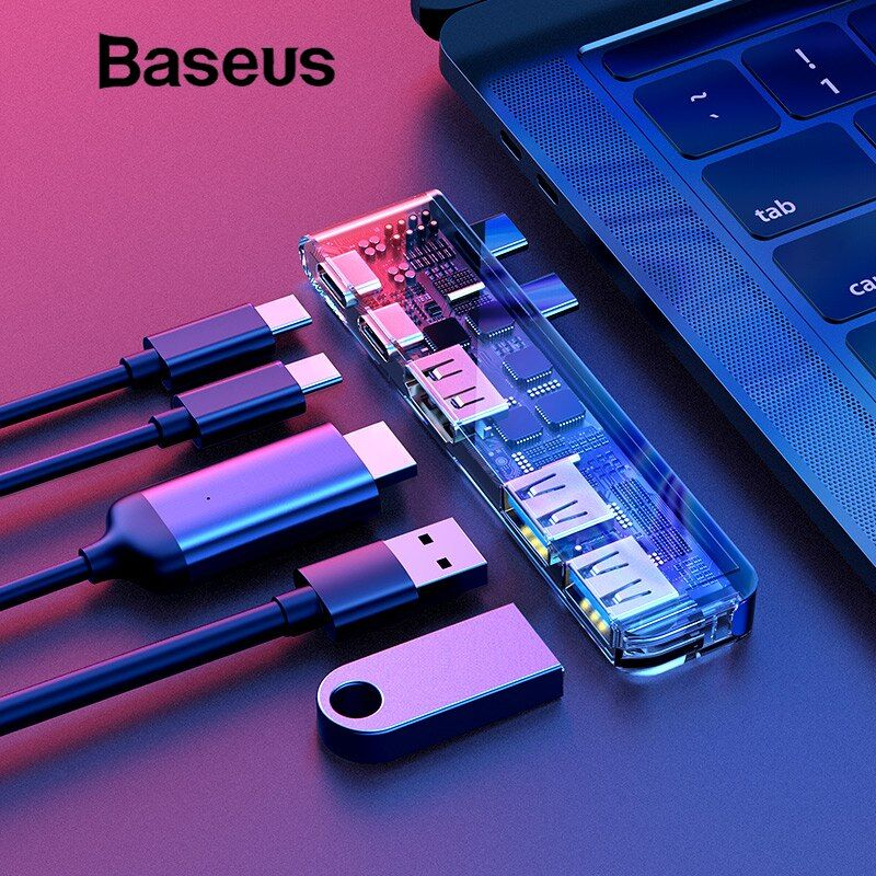 Baseus Type C USB 3.0 Adapter HUB for MacBook Pro 2016/2017/2018 Dual USB-C HUB Splitter HDMI Thunderbolt Dual USB 3.0 USB HUB