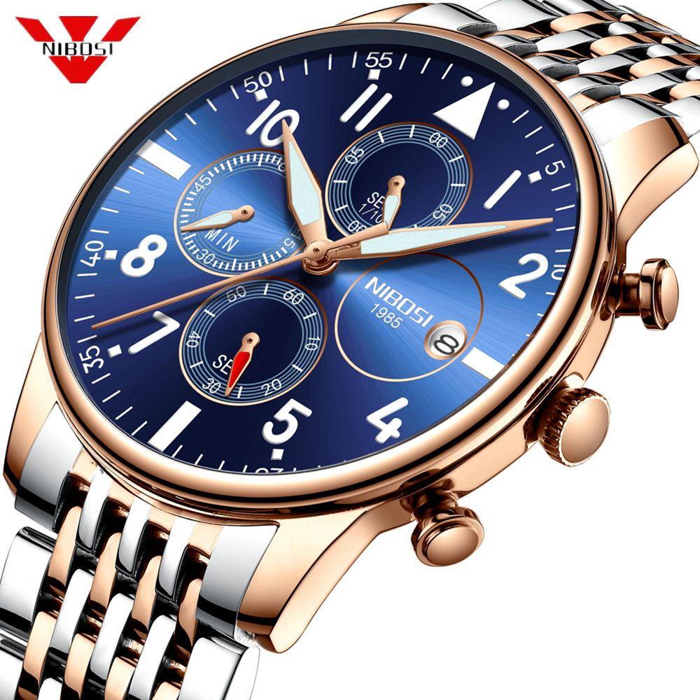 Montres hommes NIBOSI étanche Quartz affaires hommes montre Top marque de luxe horloge décontracté militaire Sport montre Relogio Masculino