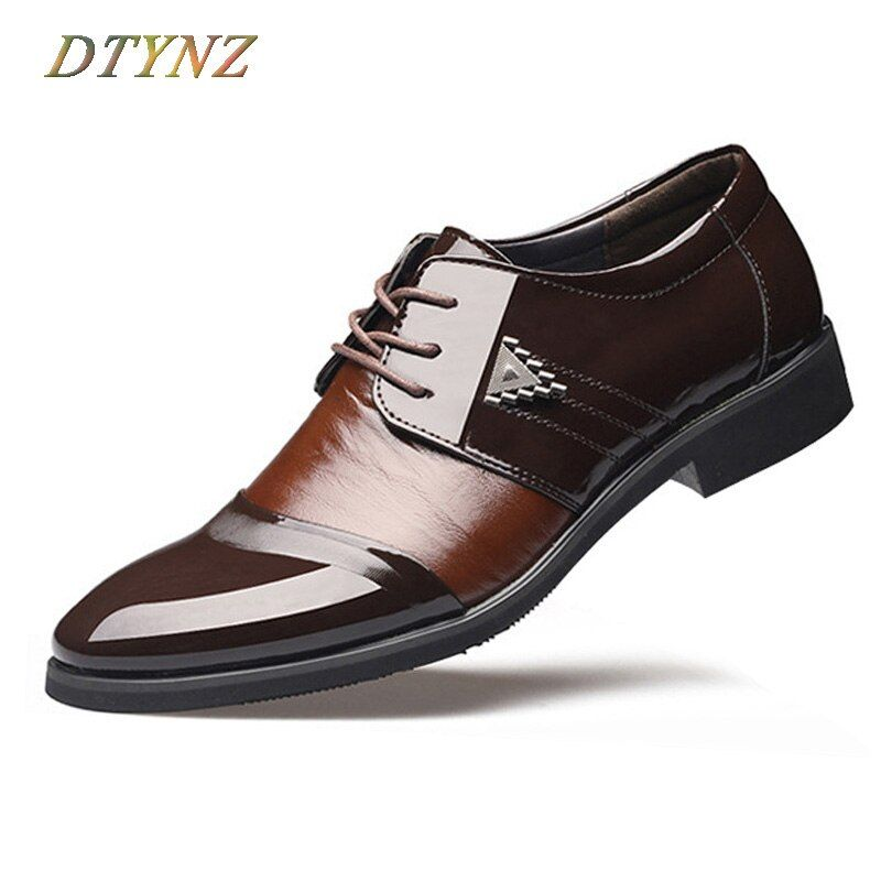 DTYNZ Classical Dress Shoes With Gentleman Charm High Quality Leather Office Wedding Oxfords New 2018 Autumn Hard-Wearing Sole