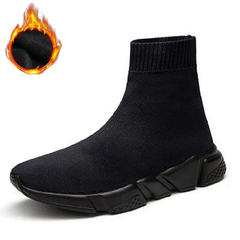 FEOZYZ High Top Running Shoes For Men Women Thermal Winter Shoes Women Men Fur Lining Sport Shoes Chunky Shark Sneakers