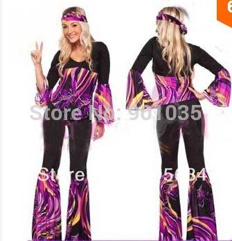 Dames 60 s 70 s rétro Hippie aller fille Disco Costume poules fête fantaisie robe S-2XL