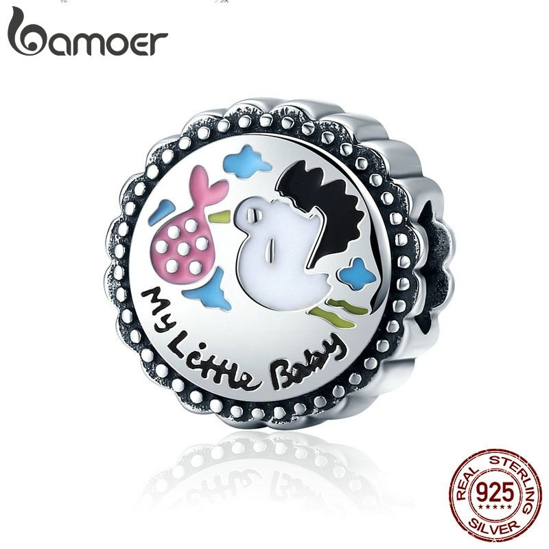 BAMOER Authentic 100% 925 Sterling Silver Little Baby Stork round Charm Beads fit Girl Charm Bracelet DIY Jewelry Making SCC504