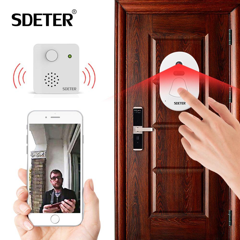 SDETER WIFI Doorbell Door Bell Kit Home Security Camera Wireless WIFI W/ Free Cloud Storage Night Vision Alarm Push Door Viewer
