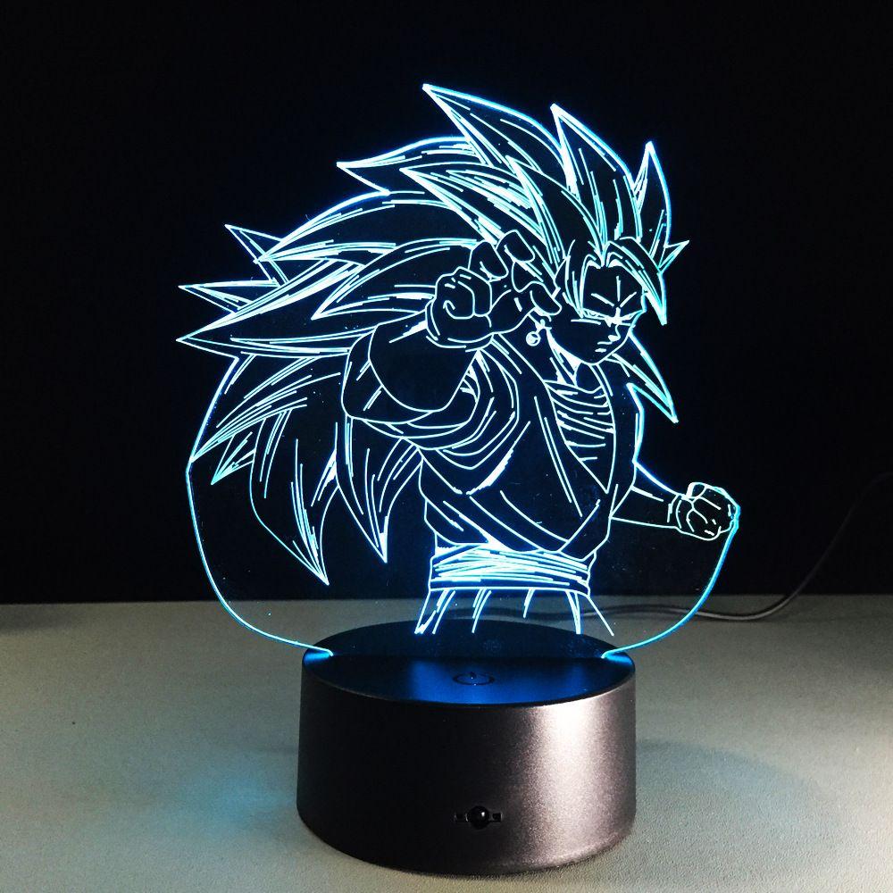 Dragon Ball Z Figure 3D LED veilleuse Son Goku Super Saiyan 3 coloré acrylique USB LED lampe de Table décoration
