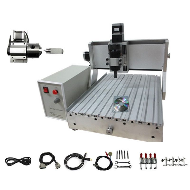 4 Axis CNC Machinery CNC 3040, woodworking machine with 500w spindle and USB interface