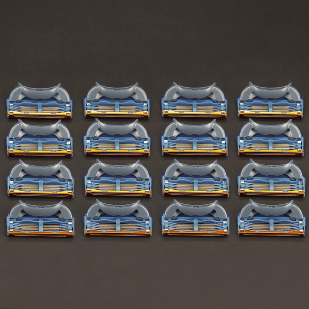 16 pcs/pack Haute Qualité 5 couches Lame Lames de Rasoir Pour Hommes Rasage Soins Du Visage Cassette Rasage Compatible Avec Gillettee Fusione