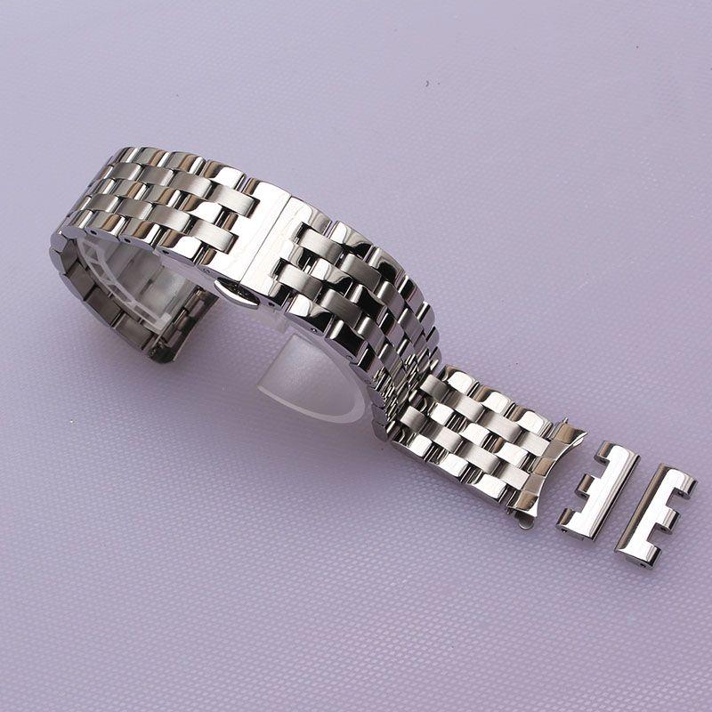 16mm 18mm 20mm 22mm 24mm Watchband Watch Band Stainless Steel Strap Wrist Belt Bracelet Silver curved ends fit men women hours