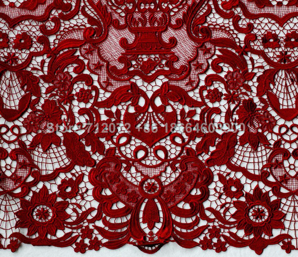 De La Belleza défilé De Mode haute qualité robe de mariée brodée/evinging robe blanc/bleu/rouge/vin dentelle tissu par yard