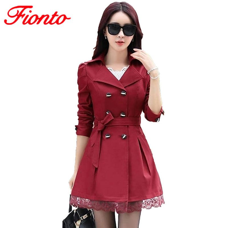 New Trench Coat Women Slim Double-Breasted Trenchcoat Lace Especially Female Casual Windbreaker Outwear Plus Size Raincoat A015-