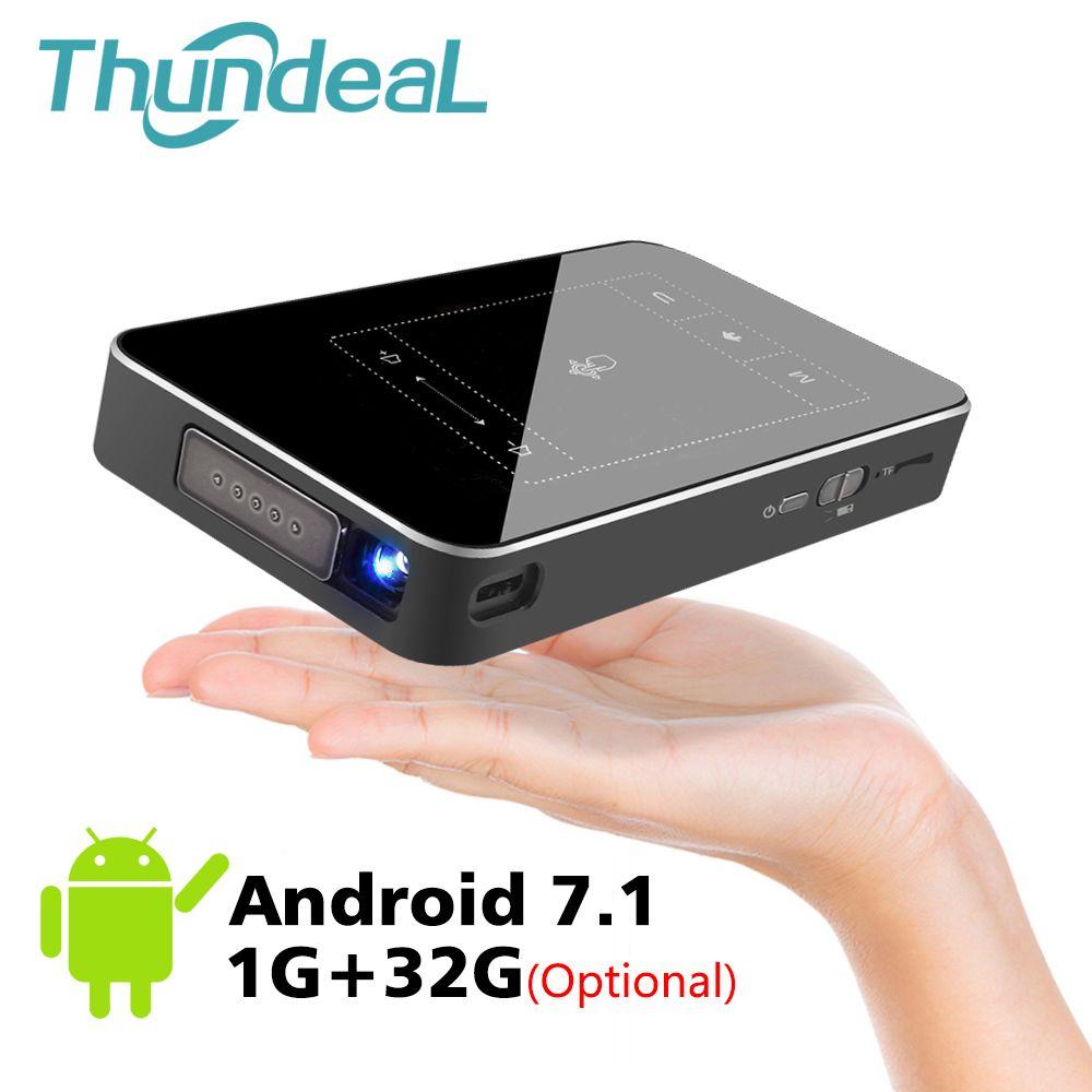 ThundeaL T18 DLP Mini Projecteur Android 7.1 WiFi 8g 32g ROM 3D Soutien 4 k Projecteur Tactile Pad batterie 5000 mah Bluetooth HDMI Dans