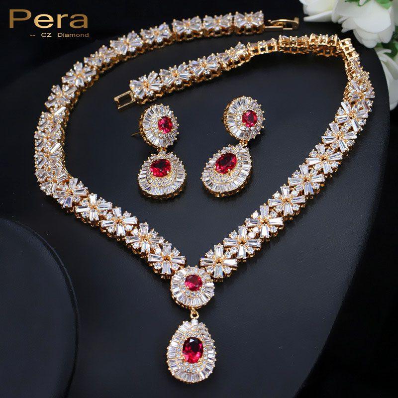 Pera CZ Классический кубический цирконий золото Цвет нигерийской свадьбы Африканский костюм большой себе комплект ювелирных изделий с Красны...