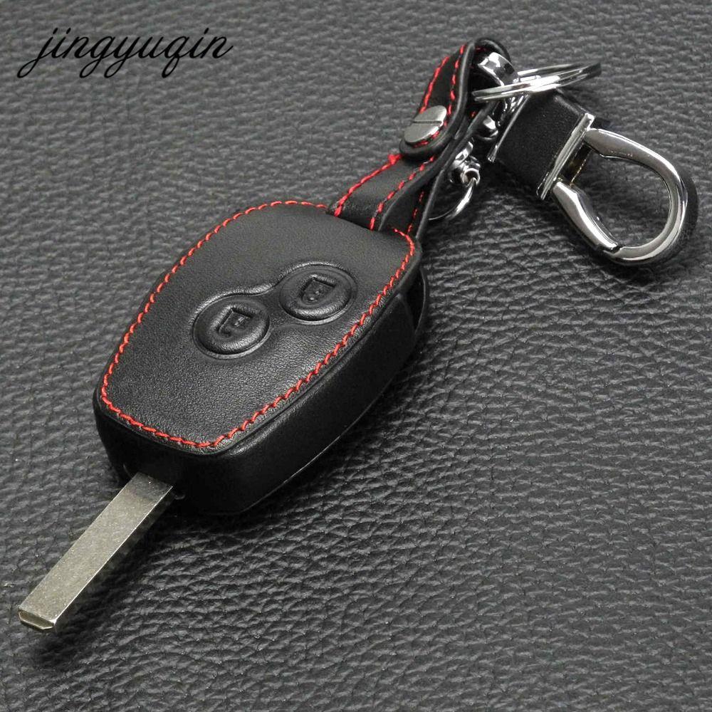 Jingyuqin Leder Abdeckung Für Nissan Almera Renault Clio Dacia Logan Megane Espace Kangoo Duster Twingo 2BTN Auto Fernbedienung Schlüssel Fall