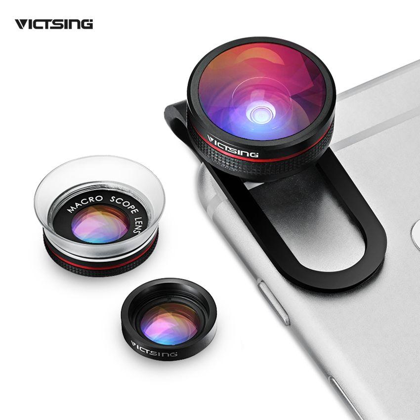 VICTSING Clip-on 3 in 1 Camera Phone Lens Kit Fisheye-objektiv + 12X Macro + 24X Super Makro-objektiv für iPhone 6 s 6 Plus etc Handy