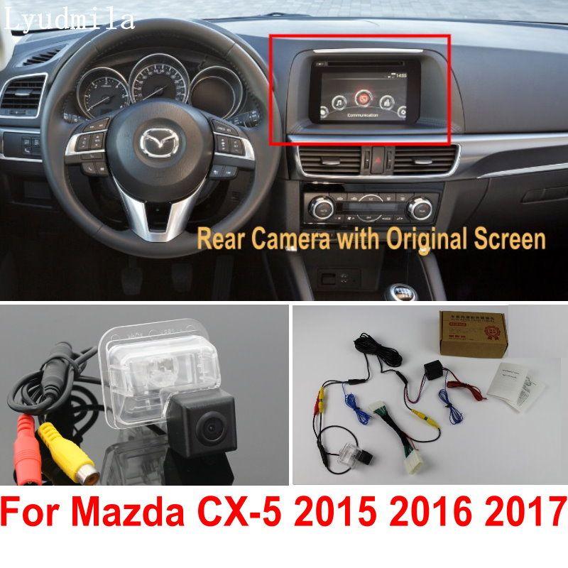 Заднего вида автомобиля Камера подключить оригинальных Экран для Mazda CX5 CX-5 CX 5 2015 2016 2017 Обратный резервного копирования Камера RCA адаптер раз...