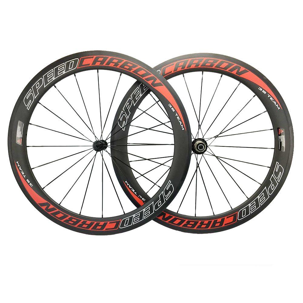 60mm Full Carbon Wheelset Clincher Novatec 271 291 Powerway Hub Carbon Speedcarbon Wheels 700C Roues en Carbone