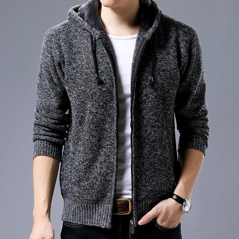 Sweaters Coat 2018 New Winter Plus Velvet Keep Warm Hooded Cardigan Men Sweater Fashion Solid Color Casual Pull Homme Hiver