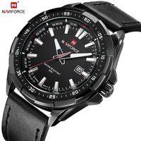 NAVIFORCE кварцевые для мужчин часы кожаный ремешок аналоговые модные повседневное Дата часы для мужчин Военная Униформа водонепроница...
