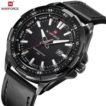 NAVIFORCE Quartz Men Watches Leather Strap Analog Fashion Casual Date Watch Men Military Waterproof Male Clock Relogio Masculino