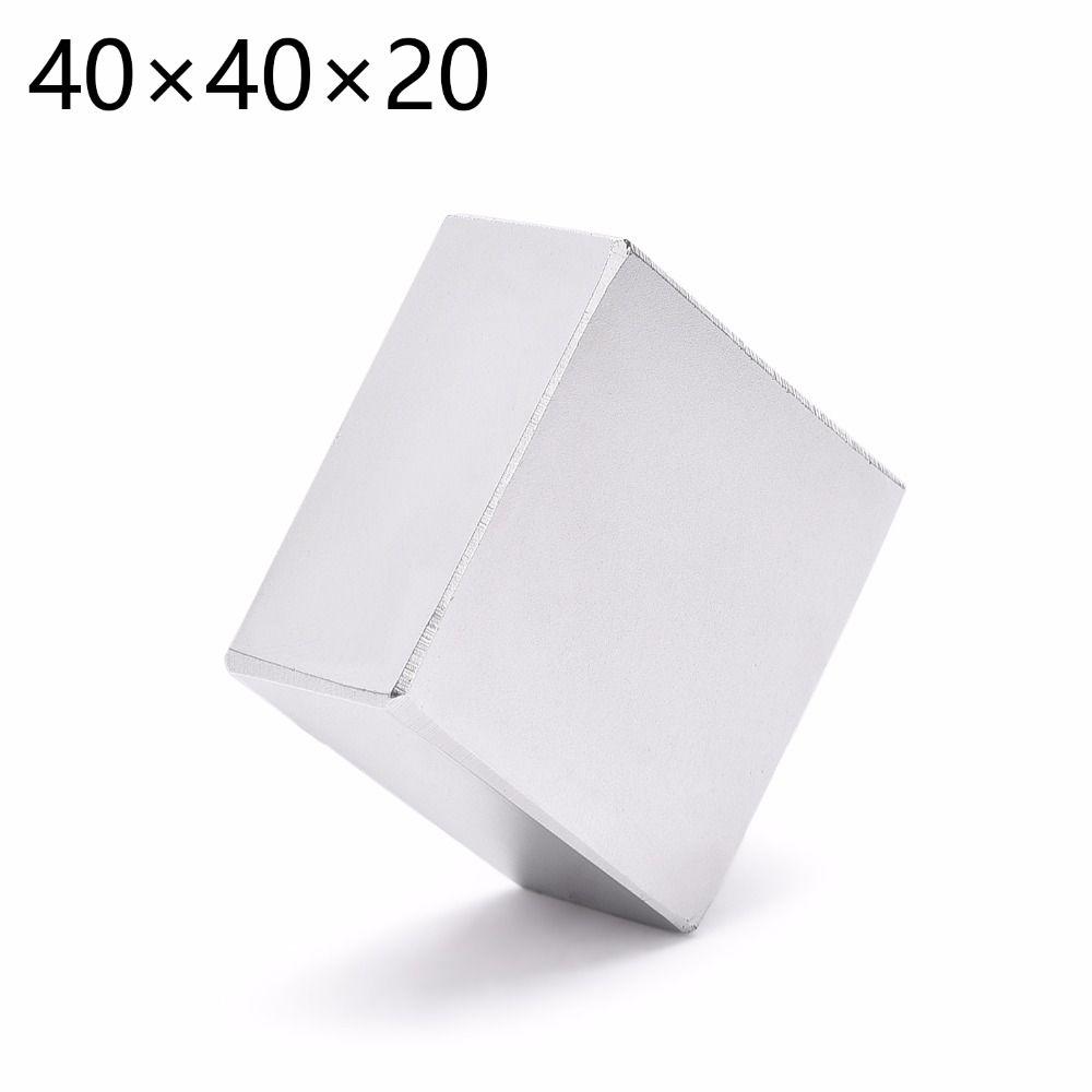 1 PC 40mm x 40mm x 20mm N52 puissant bloc de terres rares NdFeB aimant 40*40*20 40x40x20 aimant néodyme