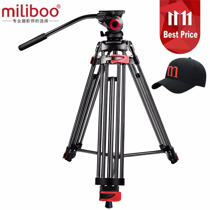 miliboo MTT602A Professional Portable Aluminum Fluid Head Camera Tripod for Camcorder/DSLR Stand Video Tripod 76  Max Height
