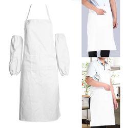 Baru Putih Universal Bib Apron Dengan Kantong Dapur Restoran Memasak Celemek Setengah/Seluruh Tubuh Untuk Pelayan Chef Kitchen Accessaries