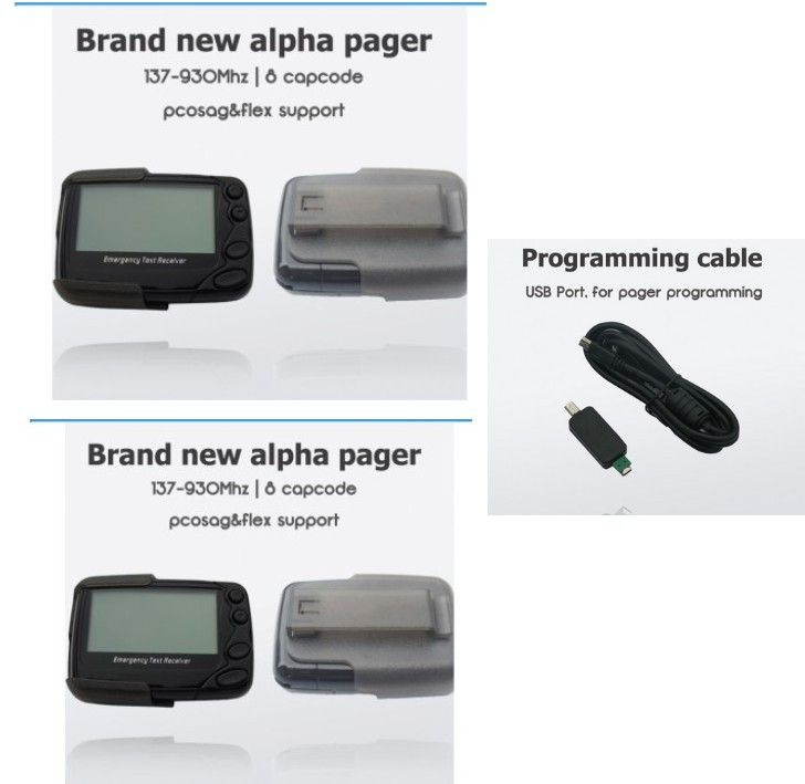 2pcs Hand/PC programmable pager, POCSAG or Flex pager, alpha paging system receiver, free programing cable, text message pager