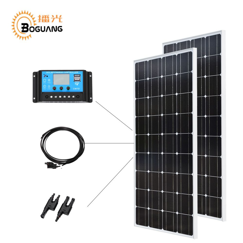Boguang 12V/24V/20A controller 100w glass solar panel Monocrystalline cell PV module 200w Solar DIY kit 12v battery home charger