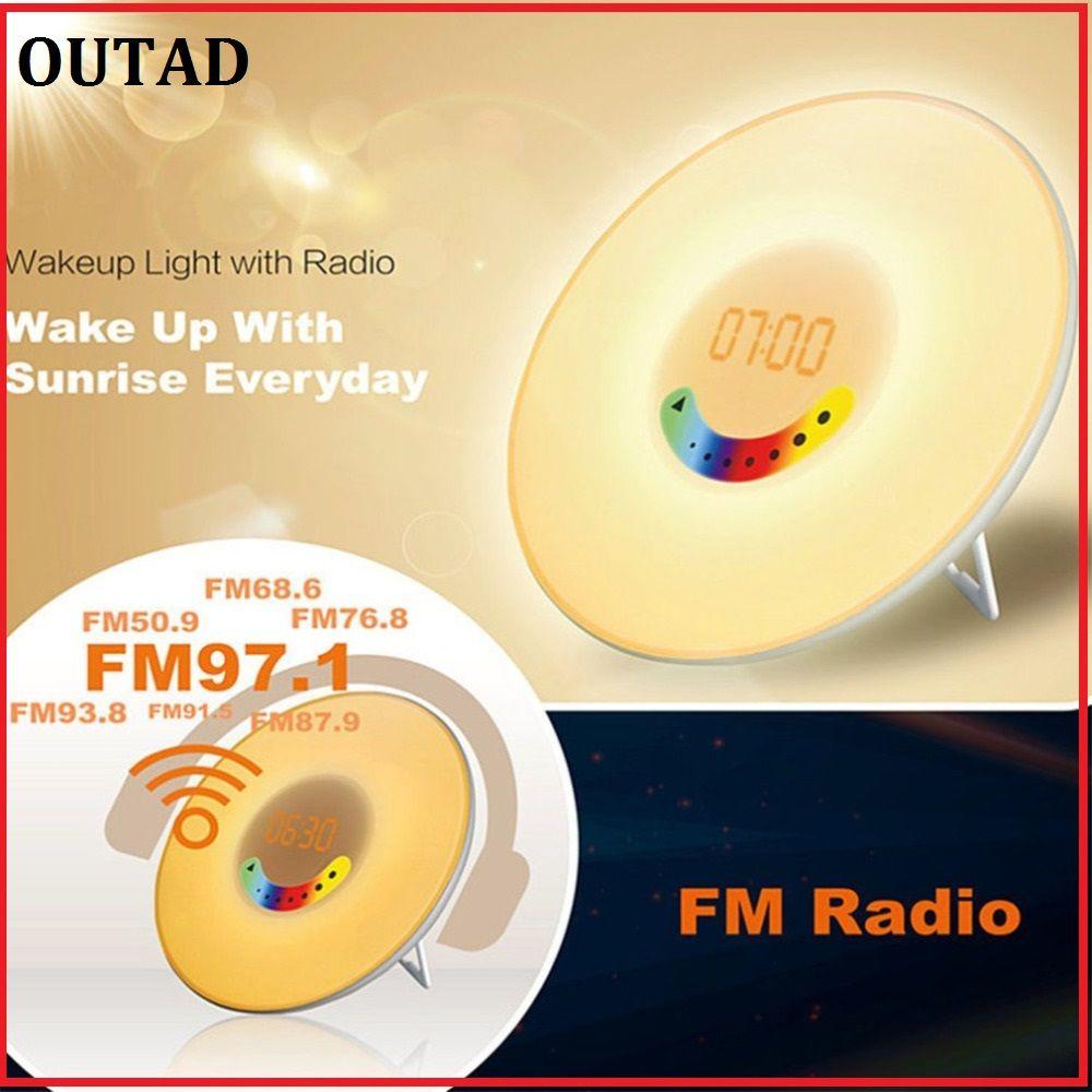OUTAD Creative Design Colorful Bedroom Wake Up Digital Alarm Clock Novelty RGB LED Sunrise Simulation Clock Light Lamp FM Radio