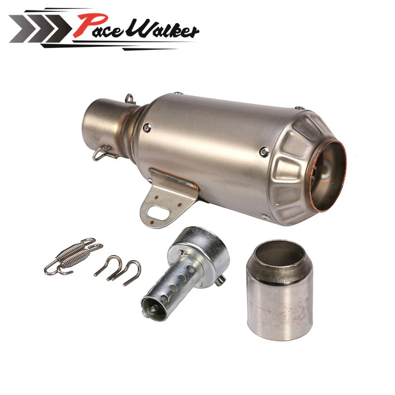 PEACWALKER - titanium Stainless Steel 51mm  Motorcycle Slip On GP Exhaust Pipe System Silencer Muffler