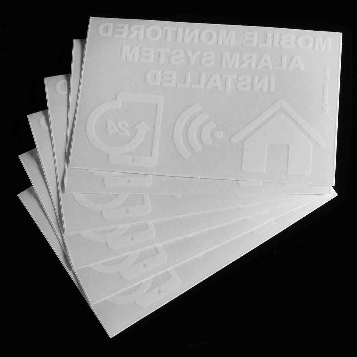 NEUE Safurance 6 xMobile Überwacht Alarm System Installiert Warnzeichen Interne Aufkleber 130x87mm Home Security Sicherheits
