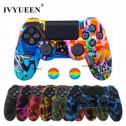 IVYUEEN 19 Colors Silicone Camo Protective Skin Case For Sony Dualshock 4 PS4 DS4 Pro Slim Controller Thumb Grips Joystick Caps
