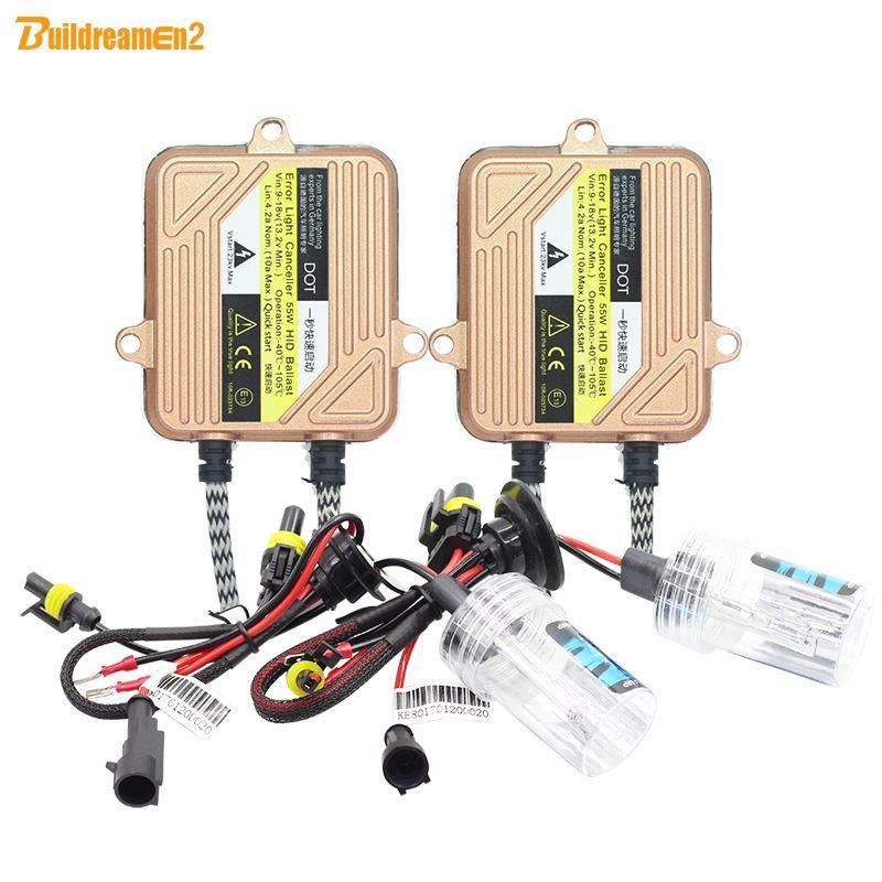 Buildreamen2 H1 H3 H4 H7 H8 H9 H11 9005 9006 9007 880 881 55W Auto HID Xenon Kit Ballast Bulb Car Light Headlight DRL Fog Lamp