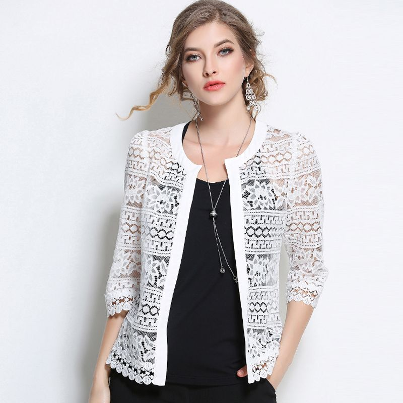 2017 Plus Size Women Clothing Ladies White Lace Blouse Summer Cardigan Black Crochet Sexy Female blouses women tops blusas 3F