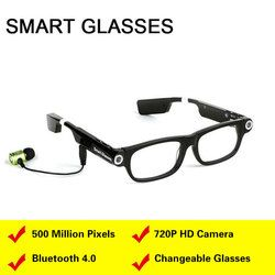 Smart Glasses Video Camera Bluetooth Headset 4.0 Handsfree Phone Call Sync GPS Prompt Music Sleep Alarm For IOS Android phones