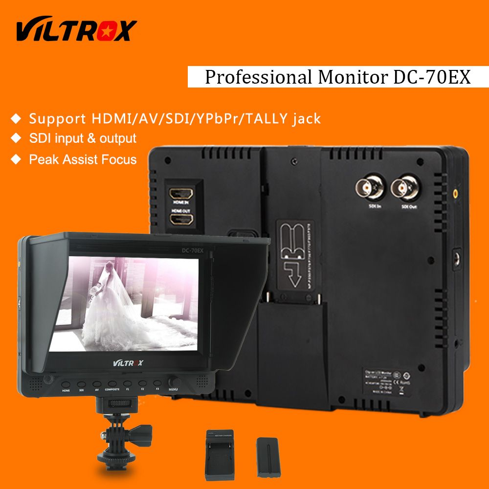Viltrox DC-70EX Pro 7'' 4K HD Clip-on HDMI/SDI/AV Input Camera Video LCD Monitor Display+Battery+Charger for Canon Nikon DSLR
