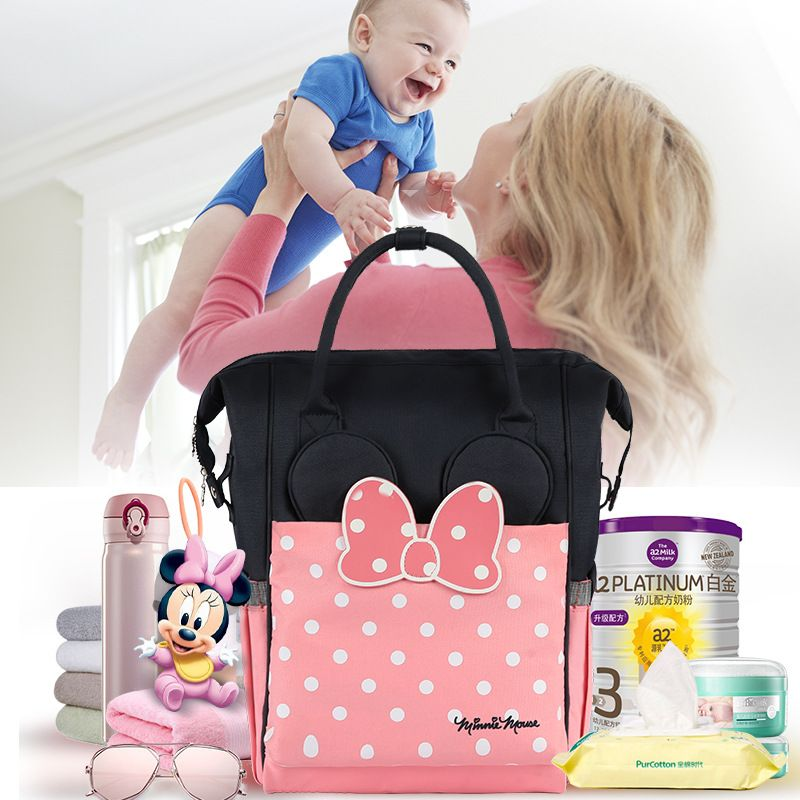 Disney Minnie Thermal Insulation Bag High-capacity Baby Feeding Bottle Bags Backpack Baby Care Diaper Bags Oxford Insulation Bag