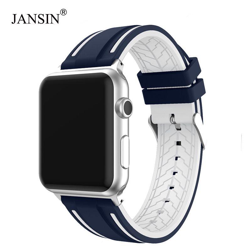 JANSIN Sport bande pour apple watch série 4 3 2 1 bracelet pour iWatch Silicone souple remplacement bande adaptateur 38mm 40mm 42mm 44mm