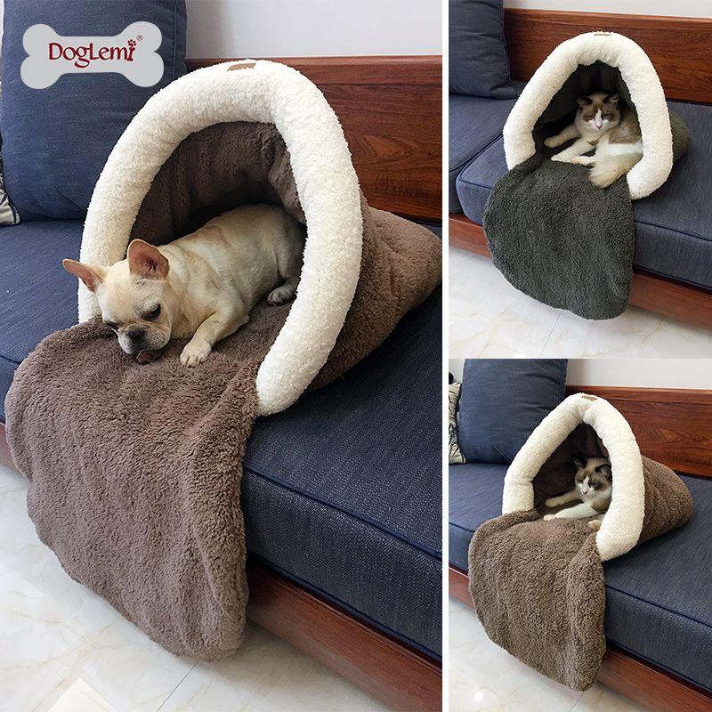 Новые Pet Cat кровать маленькая собака щенок питомник диван флис Материал КРОВАТЬ PET Коврики cat house спальный мешок теплое гнездышко высокое кач...